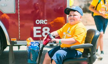Picture of boy with fire engine