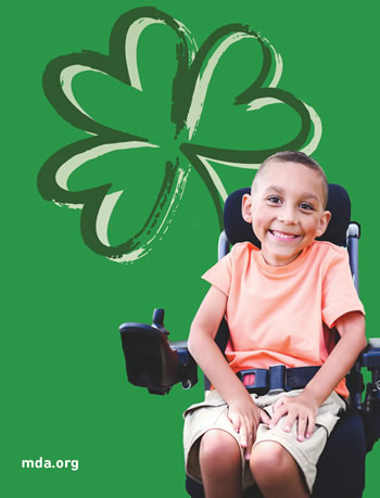 Jordan lives with neuromuscular disease and is representing the Muscular Dystrophy Association's Shamrocks campaign in this year's pinups in 20,000 retailers nationwide.