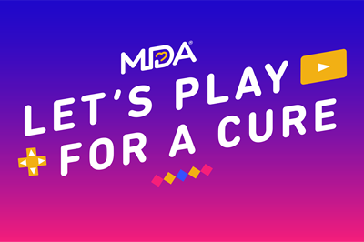 MDA Lets Play For a Cure logo Full Color Gradient version