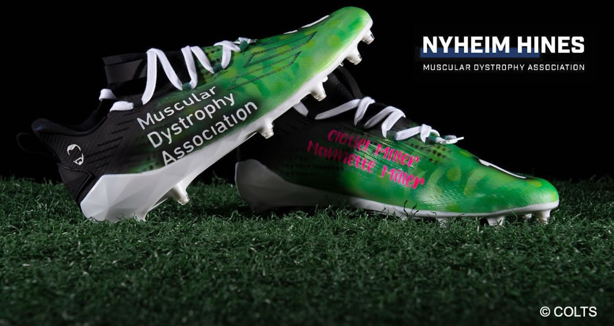 NFL's My Cause My Cleats charitable campaign features cleats raising awareness for Muscular Dystrophy Association by Nyheim Hines of the Indianapolis Colts (Instagram: @thenyny7).