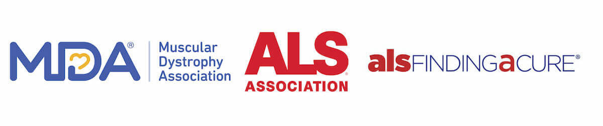 Logos for the ALS Association, the MDA, and ALS Finding a Cure