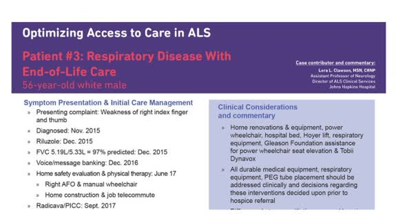 Optimizing Access to Care ALS Patient #3 - Respiratory Disease with End-of-Life Care