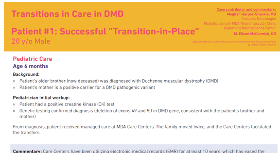 Transitions in Care in DMD  Patient #1 - Successful Transition in Place