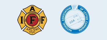 Two sponsor logos are shown, IAFF, and the National Association of Letter Carriers.