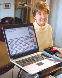 Couple using an onscreen keyboard to type a message