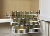 Pull-down spice rack; shelf-space economizers from Rubbermaid.