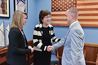 Elisabeth and Keegan Kilroy meet with Senator Susan Collins of Maine during the MDA Advocacy Conference.