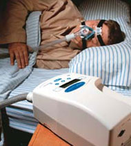 Noninvasive ventilation can be delivered through a mask or mouthpiece. Photo courtesy of Respironics.