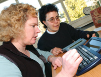 Woman using an AAC