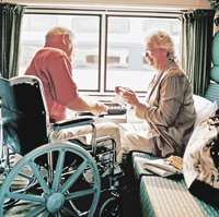 Accessible spaces and seats are available throughout Amtrak trains. If you choose to remain seated in your wheelchair, they recommend applying your brakes when the train is in motion. If you choose to transfer to an accessible seat, train personnel will assist you in stowing your wheelchair nearby.