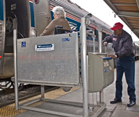 Amtrak assists wheelchair users in accessing their trains with station-based mobile lifts and bridge plates.