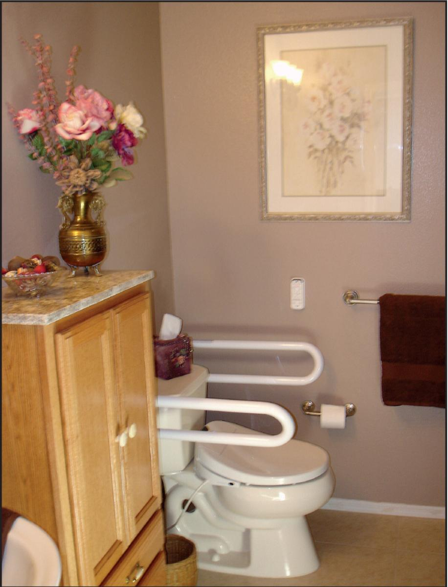 Bonnie Guzelf's bidet seat, a Swash 1000, is fitted on her new ADA-approved toilet.