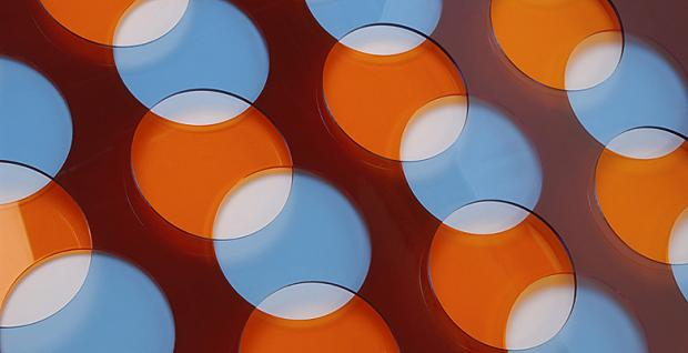 A picture of blue and orange circles overlapping each other