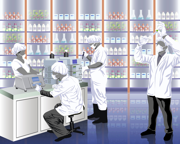 An artistic drawing of scientists working in a lab