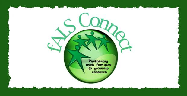 A graphic that says fALS Connect, 'Partnering with families to promote research.'