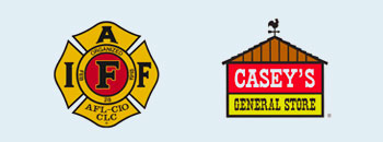 Two sponsor logos displayed here, staring with IAFF, then Casey's General Store