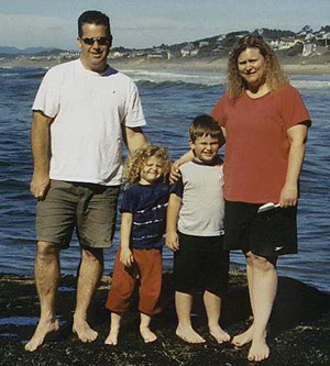 Christine Swanson at the beach with her family