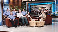 "Matt Onyshko, a fire fighter with ALS, and his wife Jessica appeared on ""The Ellen DeGeneres Show,"" along with some of the Pittsburgh fire fighters who have helped support them in their journey with ALS."