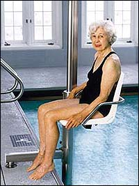 Devices like this spa lift can help with getting in and out of the pool safely.