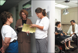 A woman with ALS visits a clinic