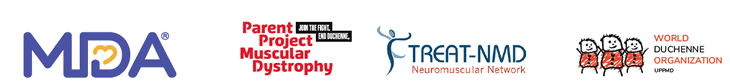 Logos of the Muscular Dystrophy Association, Parent Project Muscular Dystrophy, Treat-NMD, and World Duchenne Organization