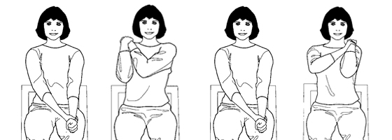 Illustration of an elbow exercise