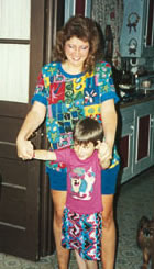 Albers, strengthened but made heavier by prednisone, and her son, Stephen, then 5, in 1992.