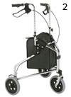 Three-Wheeled rollator with hand brakes and storage