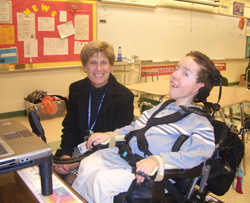 Jack Freedman, 12, of West Chester, Pa., (pictured with math teacher Christine Bunting) has an IEP packed with detailed pages providing for special services, including assistive technology, occupational and physical therapy, and speech and language therapy services. In addition to using his laptop during school, it's also written into Jack's IEP that he be allowed to transport the computer between school and home to complete homework assignments and other projects.