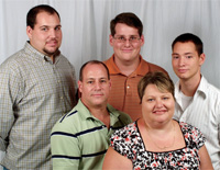 Genetic testing led to an explanation for Jason Adamo's cardiac and orthopedic problems and to an unexpected diagnosis for his brother Matthew. Back row, from left: Brothers Jason, Matthew and Christopher Adamo. Front row: Louis and Katherine Adamo, parents.