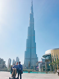 Joe Brown (seated) and his personal assistant visited the Burj Khalifa in Dubai.