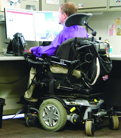 Josh Moser, who works at a financial services firm, has a workspace tailored to his needs.