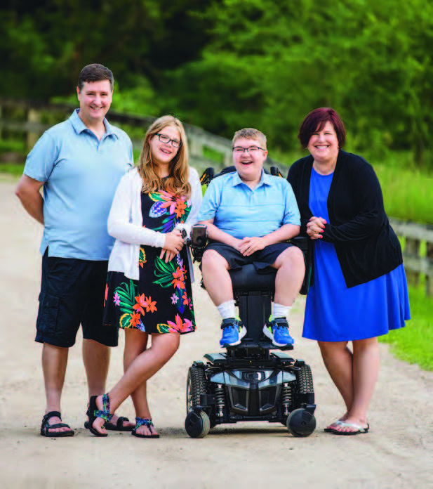 Jennifer Shumsky (right), pictured with her family, was happy to find a new career helping other Duchenne families.