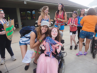 Reese (right) made a lasting bond with a counselor during her first year at camp.