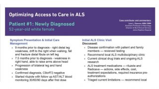 Optimizing Access to Care ALS Patient #1 - Newly Diagnosed