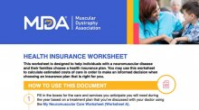 Downloadable health insurance worksheet from the MDA.